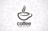 Fototapety Coffee cup vector logo design. Cafe icon symbol