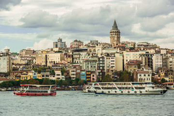 Cityscape with Galata Tower over the Golden Horn in Istanbul, Tu