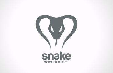 Logo Snake silhouette vector design. Tattoo reptile