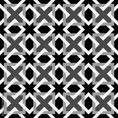 Geometric Square Seamless Ornament Pattern. Black and white back