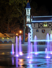 Colored water fountain at night. Ukraine. Kharkov. Gorky Park.