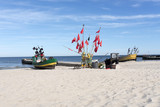 Fishing boat on Baltic Beach in Niechorze, Poland