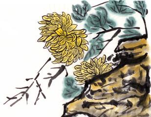 chinese painting chrysanthemum stone