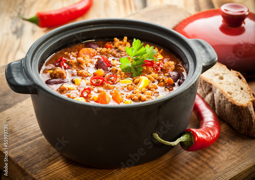 Tasty spicy chili con carne casserole