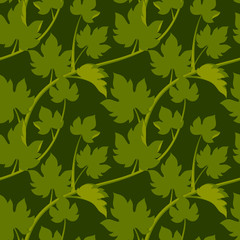 Seamless pattern with leaves and vine