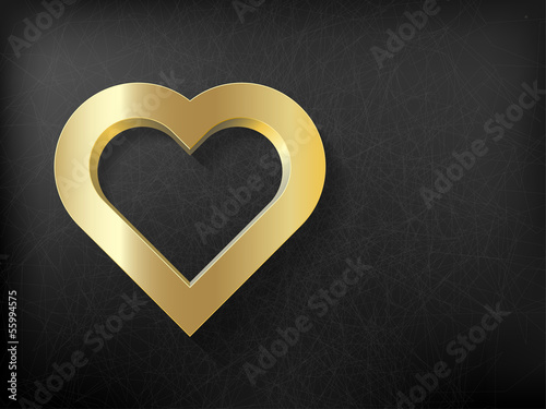 gold heart frame on metal background