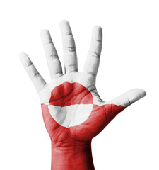 Open hand raised, multi purpose concept, Greenland flag painted