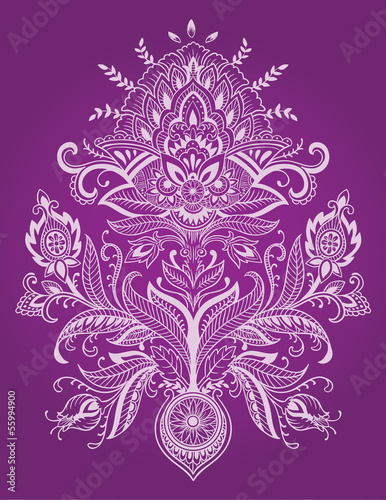Henna Paisely Lace Flower Vector