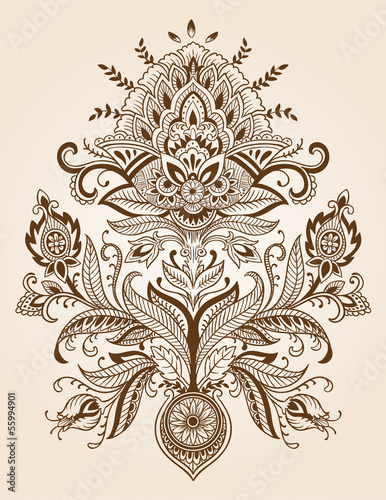 Henna Paisley Lace Flower Vector