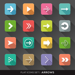 Arrow Sign Flat Icons Set