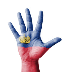 Open hand raised, Liechtenstein flag painted