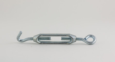 steel turnbuckle on a white background