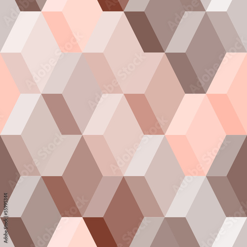 Abstract geometric seamless pattern in pink and brown, vector