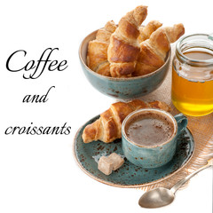 Coffee, croissants and honey