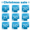 seasonal christmas sale.set of blue discount stickers with perce