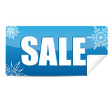 seasonal christmas sale.blue sticker with the word sale decorate