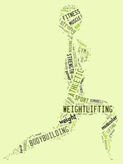 weighlifting pictogram with green wordings