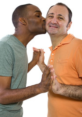 Gay Couple. Older Russian man with younger black male.