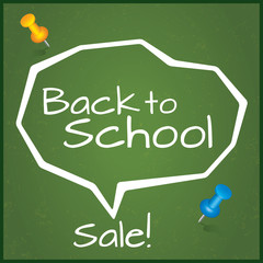 Back to school sale. Speech Bubble.