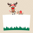 Rudolph With Candy Cane Pulling Sleigh On Label Beige