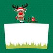Rudolph With Gift Pulling Sleigh On Label Green