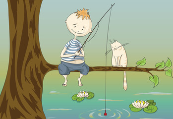 boy and cat on fishing