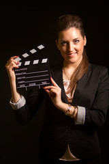 Portrait of beautiful woman posing in studio
