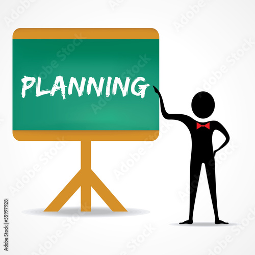 Man points to planning word on green board stock vector