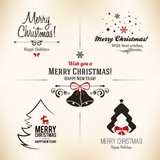Christmas and New Year symbols for designs postcard, invitation