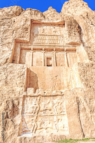 The tomb of king Daeiros carved in Naqsh-e Rustam, Shiraz, Iran.