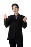 cheerful young business man with clenched fist  isolated
