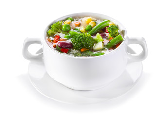 bowl of vegetable soup on white background