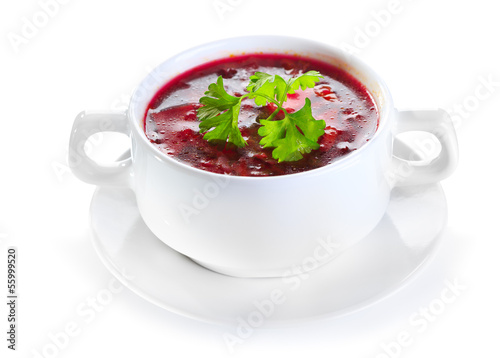 borscht soup on white background