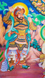 Chinese god painting on temple wall, Thailand