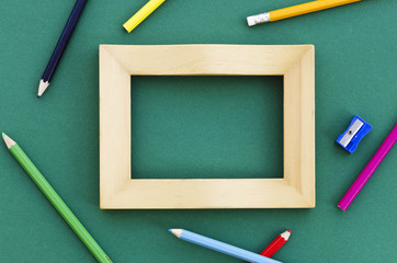 picture frame with pencil crayons