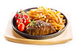 grilled meat with french fries in a pan