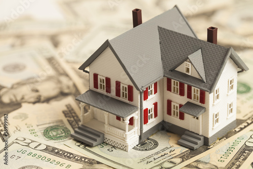 canvas print picture Single family house on pile of money