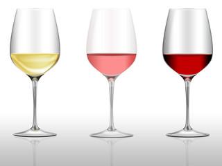 3 Weingläser, Weißwein, Rosewein, Rotwein