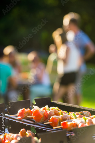 Skewers Grilling On Barbecue