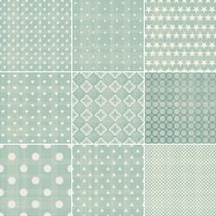 set of faded blue retro polka dot seamless patterns