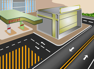 Petrol Gasoline station in the city vector cartoon
