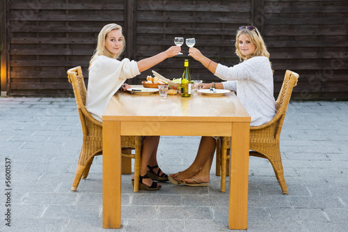 Women Toasting Wineglasses At Outdoor Table