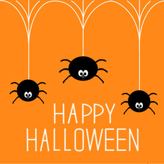 Three hanging spiders. Happy Halloween card.