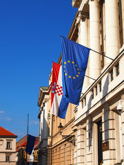 Flags of Croatia and EU