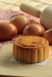 Moon cakes and egg background