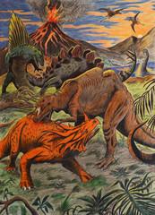 dinosauri in combattimento