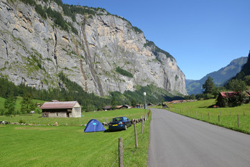 Swiss camping valley