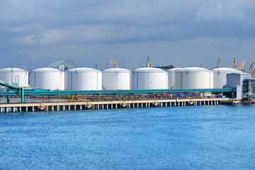 large oil fuel tanks in the port of Ventspils