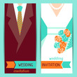 Wedding invitation vertical cards in retro style.