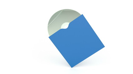 Compact disc in blue paper cover
